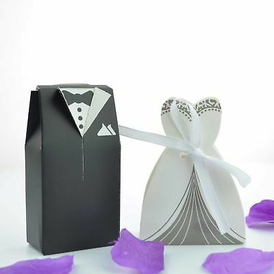 100 Bride and Groom Wedding Favour Candy Boxes Sweets Gift For Guest With Ribbon ()