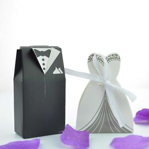 100 Bride And Groom Wedding Favour Candy Bo Sweets Gift For Guest With Ribbon