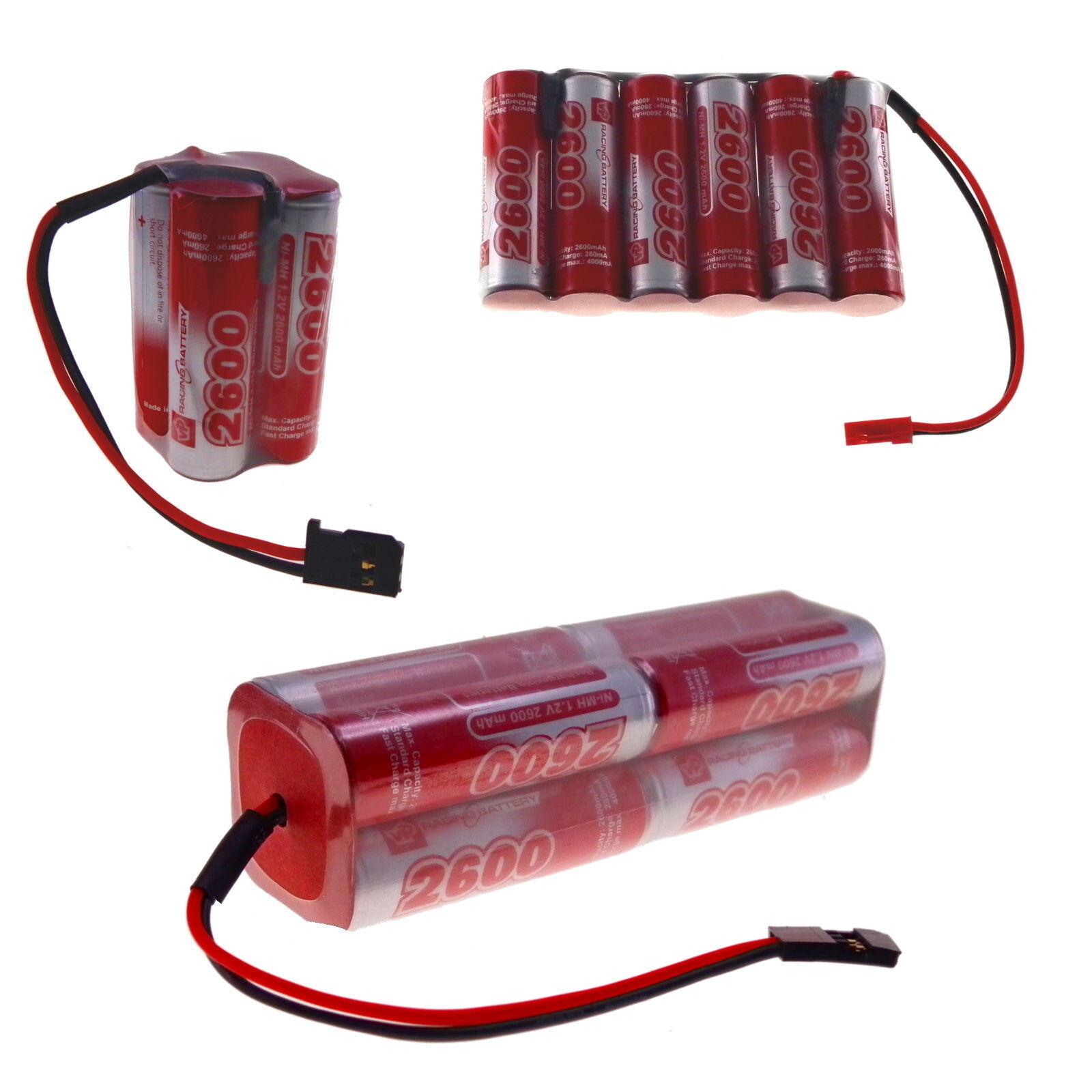 4.8v 6v 7.2v 9.6v 12v 14.4v 2600mAh VapexTech Rechargeable AA Ni-MH Battery Pack