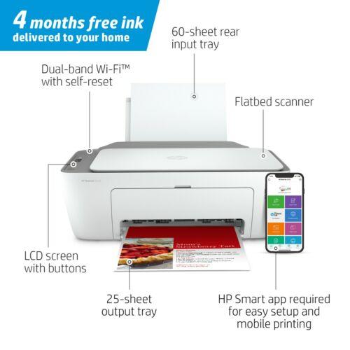 HP DeskJet 2722 All-in-One Wireless Color Inkjet Printer, FREE INK 4 MONTHS
