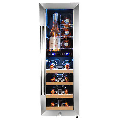 16 Bottle Touch Panel Dual Zone Wire Shelves Freestanding Compressor Wine Cooler