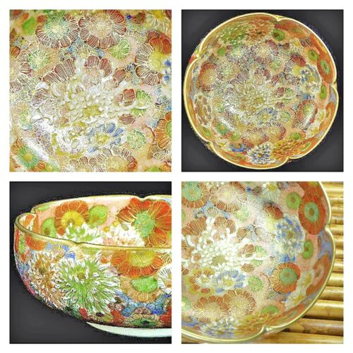 Antique Japanese Satsuma Millefleur Bowl Hand Painted Floral Gold Gilded Signed