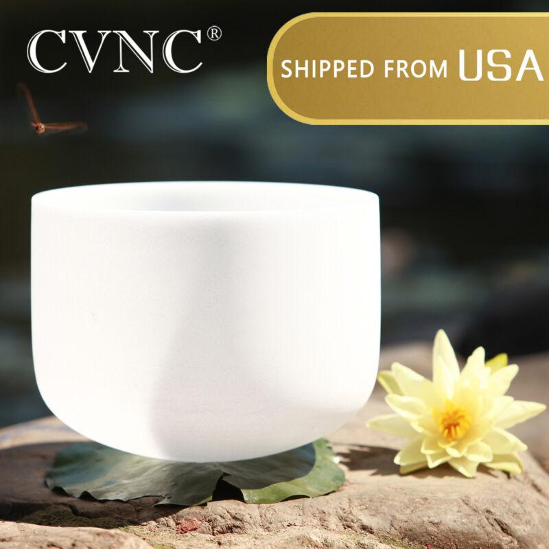 CVNC 8 Inch D Sacral Chakra Quartz Frosted Crystal Singing Bowl Rubber Mallet