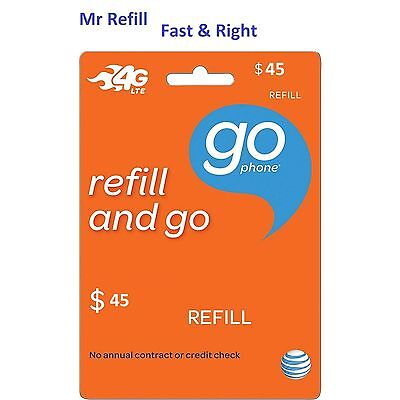 At T Go Phone  45 Refill  Fast   Right  Over 2600 Sold From Trusted Seller