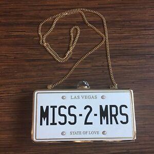 """Miss 2 Mrs"" license plate wedding clutch purse (Miss to Mrs)"