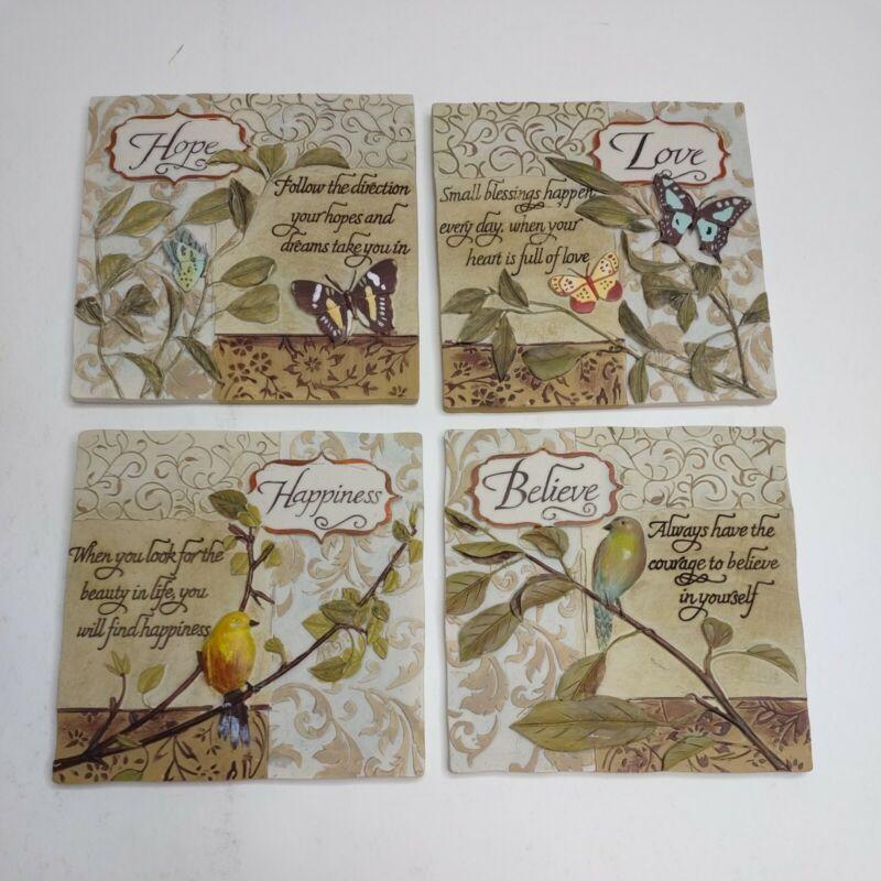 Set of 4 Decorative Ceramic Hanging Tiles Nature Love Happiness Hope Believe 3D