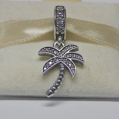 New Authentic Pandora Charm Sparkling Palm Tree 791540Cz Dangle Box Included