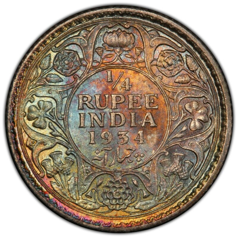 Toned Silver 1934 (c) British India 1/4 Rupee | PCGS MS63