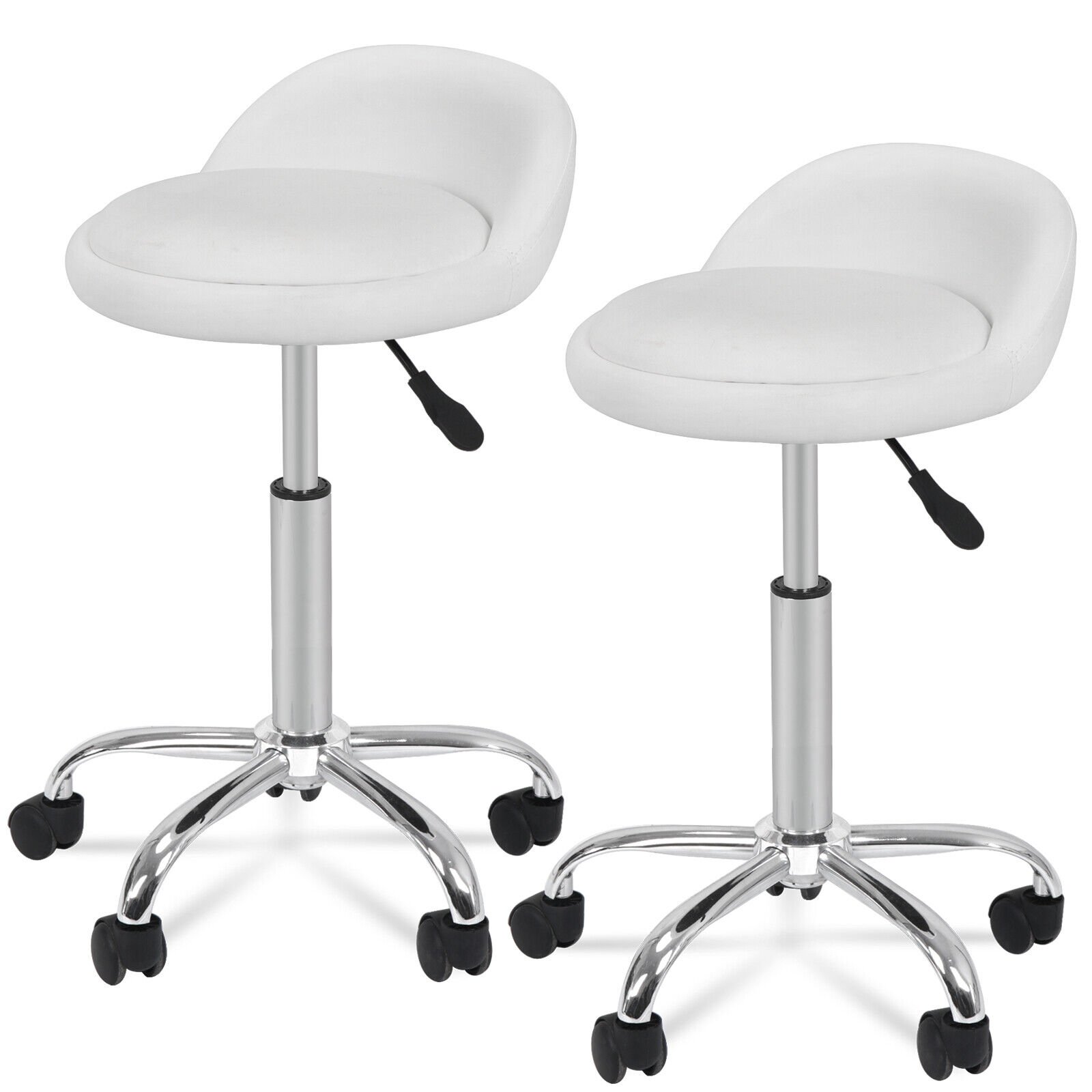 Salon Stool with Back Rest Set of 2 Saddle Rolling Hydraulic Spa Stools White Health & Beauty