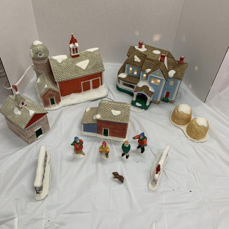 Vintage Ceramic Village Light Up Bulbs Christmas Decor Large Village