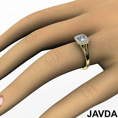 Asscher Diamond Engagement Halo Pre-Set Ring GIA F VS1 18k Yellow Gold 0.92Ct 3