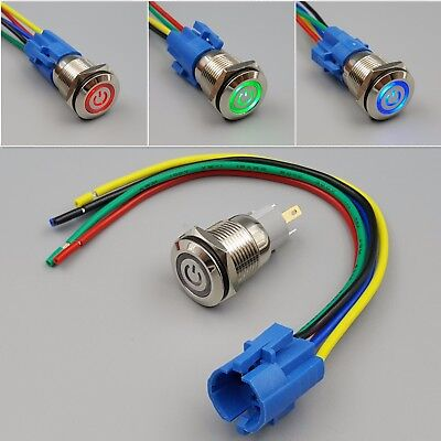 16mm Waterproof Power 12v Led 5pin On-off Metal Push Button Switch Connector