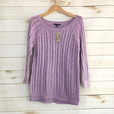 American Eagle M Purple Knitted 3/4 Sleeve Sweater Women's Medium NWT
