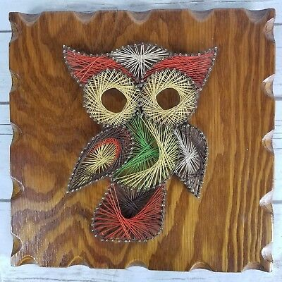 Vtg Owl Bird String Art Hanging Wood Plaque Mid Century Modern MCM Home Decor