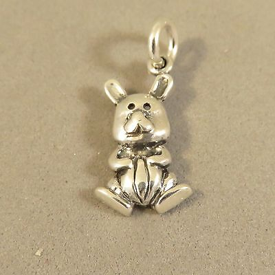 .925 Sterling Silver RABBIT CHARM NEW Bunny Toy Stuffed Animal Pendant 925 AN82 ()