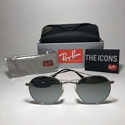 Brand New Ray-Ban RB3447 019/30 50mm ROUND Silver/Mirror Silver (Ray Ban Round Mirrored Metal Sunglasses)