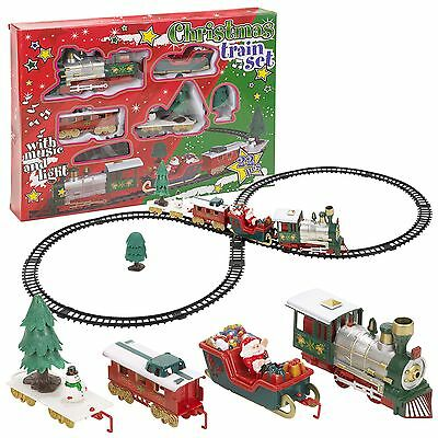 22pc Christmas Train Set Track Musical Sound Lights Around Tree Decoration Santa