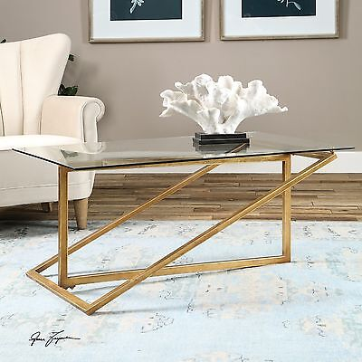 Gold Antique Coffee Table - NEW ANTIQUE GOLD HEAVY IRON ART COFFEE COCKTAIL TABLE CONTEMPORARY GLASS TOP