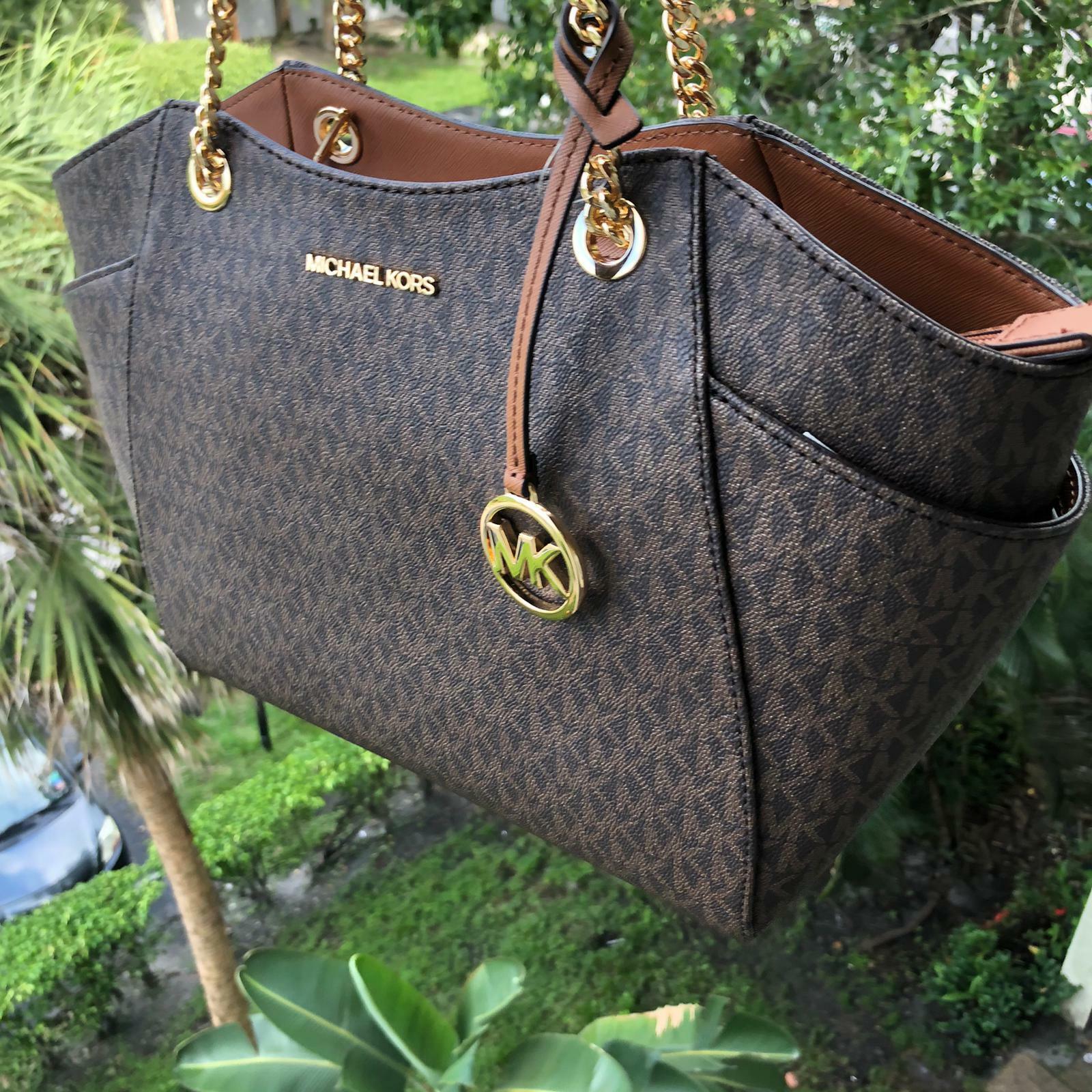 Michael Kors Women PVC Leather Shoulder Chain Tote Handbag M