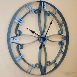 Wine Barrel Steel Hoop FLOWER Clock Large Wall Rustic Furniture Decor Handmade