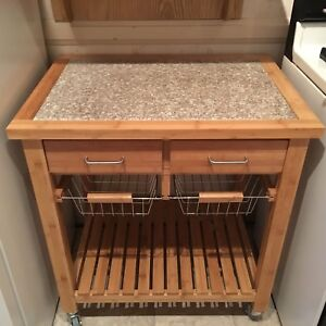Kitchen Cart with Marble Inlay Top