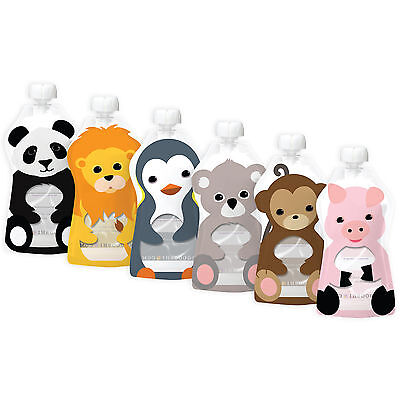 Squooshi Reuable Pouches Large Animal 6 Pack 6 oz  *BEST SELLER*