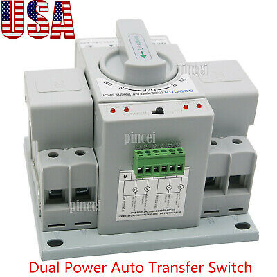 2p 63a Dual Power Automatic Transfer Switch 220v 150138115mm Toggle Switch Usa