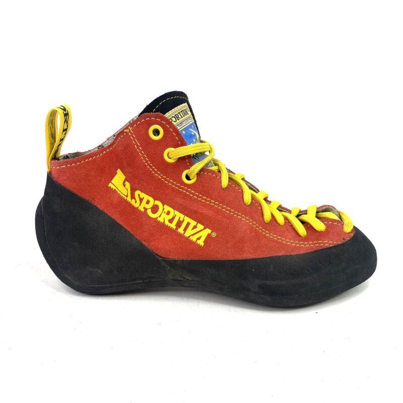 Vtg La Sportiva Climbing Shoe Sz 38 Womens 7 Men's 6 Red Climbing On The Moon