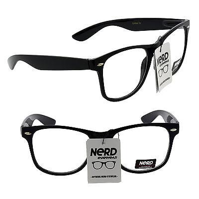 Mens Womens Clear Lens Nerd Retro Wayfarer Geek Unisex Glasses Fashion Eyewear