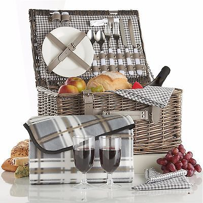VonShef Grey Gingham Deluxe 2 Person Traditional Wicker Picnic Basket Hamper