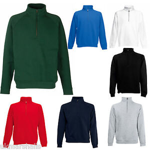 FRUIT-OF-THE-LOOM-ZIP-NECK-SWEATSHIRT-5-COLOURS-S-XXL