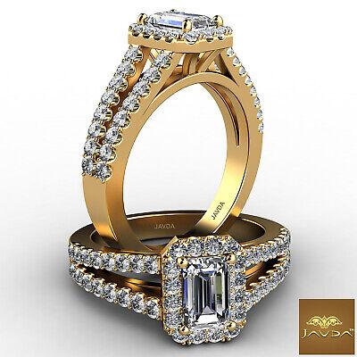 Halo Split Shank Prong Set Emerald Diamond Engagement Gold Ring GIA F VS2 1.25Ct