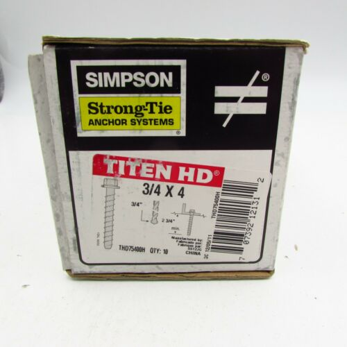 "Simpson 3/4"" x 4"" Screw Anchors Titen HD S10 Pieces # THD75400H"
