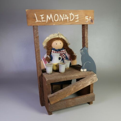 """Vintage Lizzie High Wood Doll """"PATSY BOWMAN"""" with Lemonade Stand & Cat 1986 USA"""