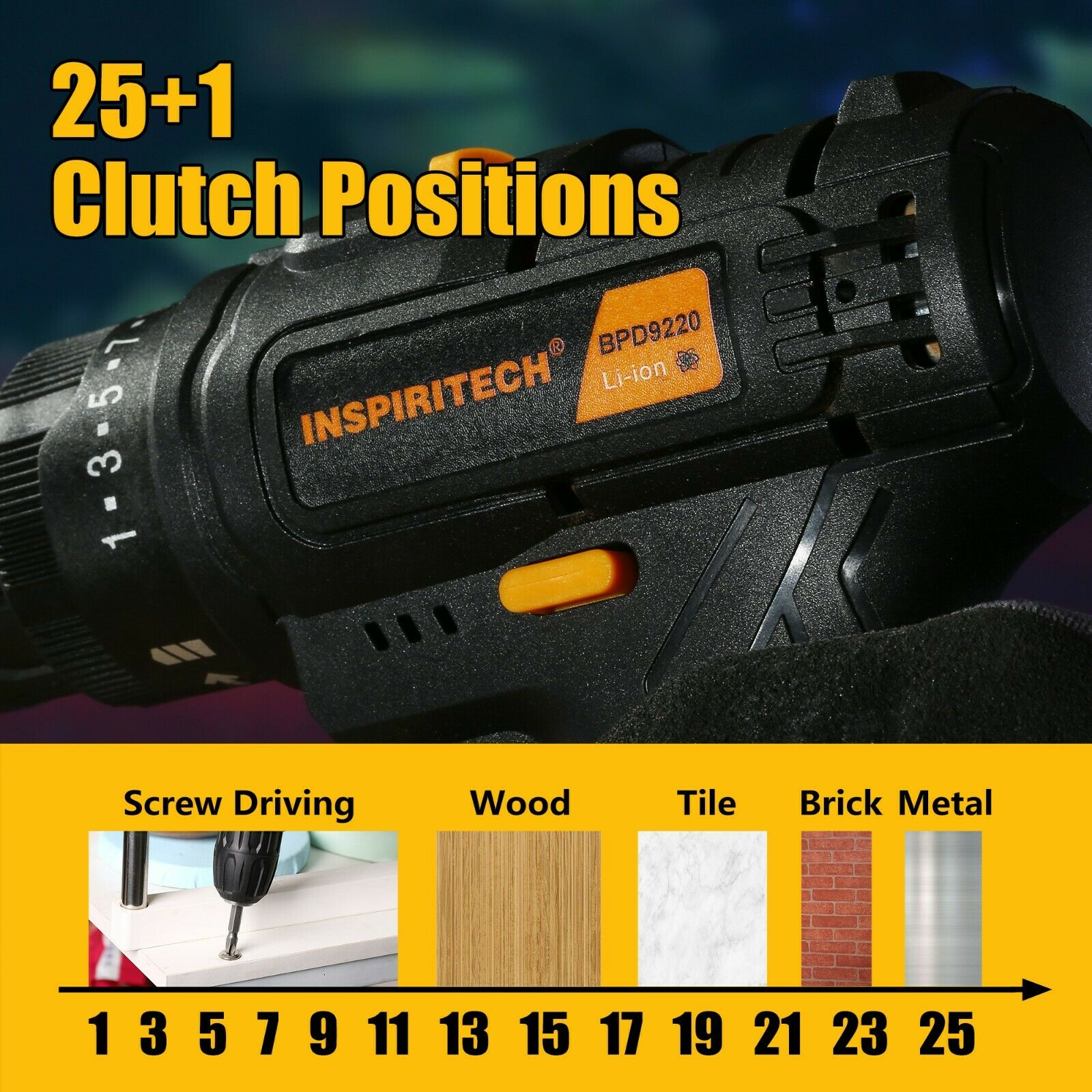 20Volt drill 2 Speed Electric Cordless DrillDriver with Bits Set  2 Batteries