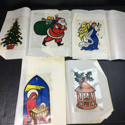 Christmas Vintage Window Clings Collectibles USED Lot Jesus Mary Angel Nativity