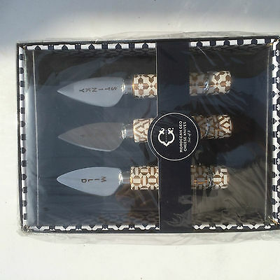 C. Wonder Cheese Knives SET of 3 MOROCCAN GEO Gold MSRP $34.00 -
