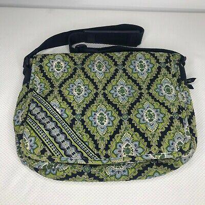 Vera Bradley Cambridge Quilted Laptop Messenger Bag Green Blue Paisley USA (Cambridge Laptop Bag)
