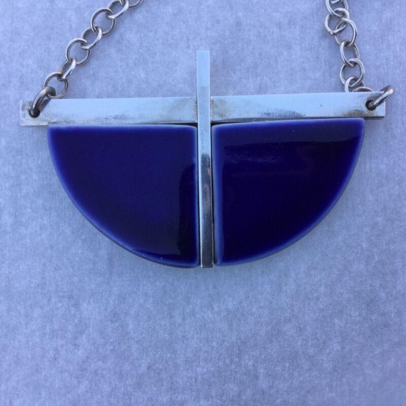 LARGE Anton Michelsen for Royal Copenhagen Sterling/ Blue Delph Necklace Denmark