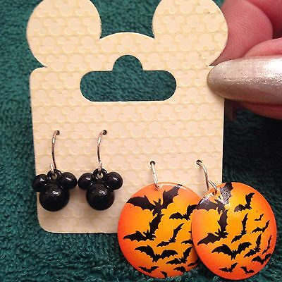 NEW Witch Earrings Mickey Mouse and Spooky Flying Bat Orange Flaming Sunset