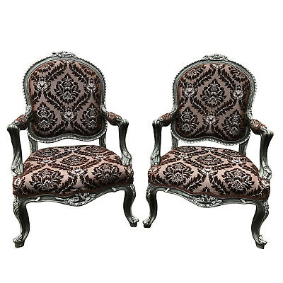 Antique Royal Victorian Ornate Floral Damask Tall Back Club Chairs - A Pair Imperial Damask Antique