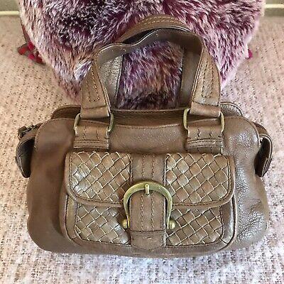 """Small Hidesign Brown Leather """"Grab"""" bag, beautiful."""