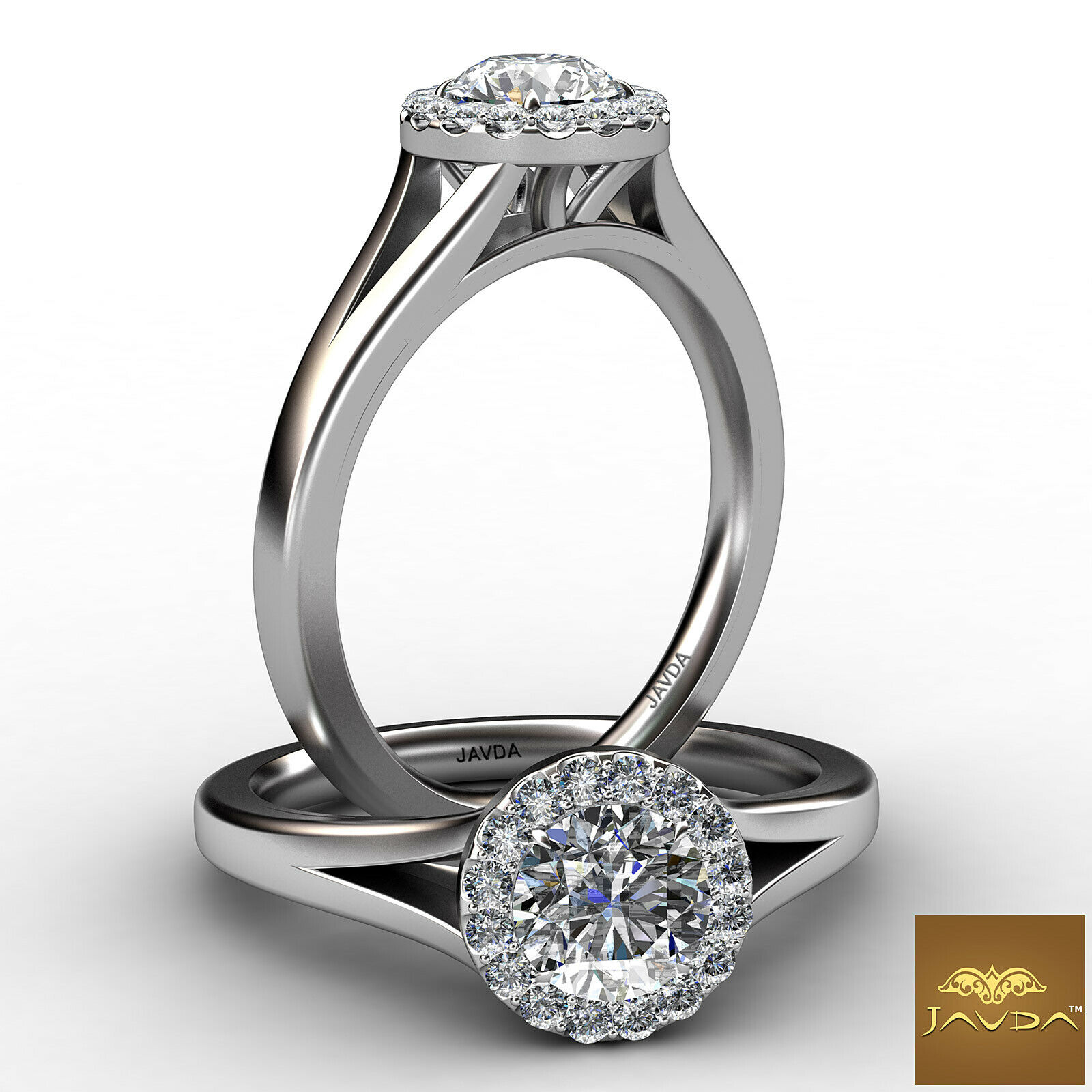 Halo Pave Split Shank Round Diamond Engagement Ring GIA Certified E VS1 0.7 Ct