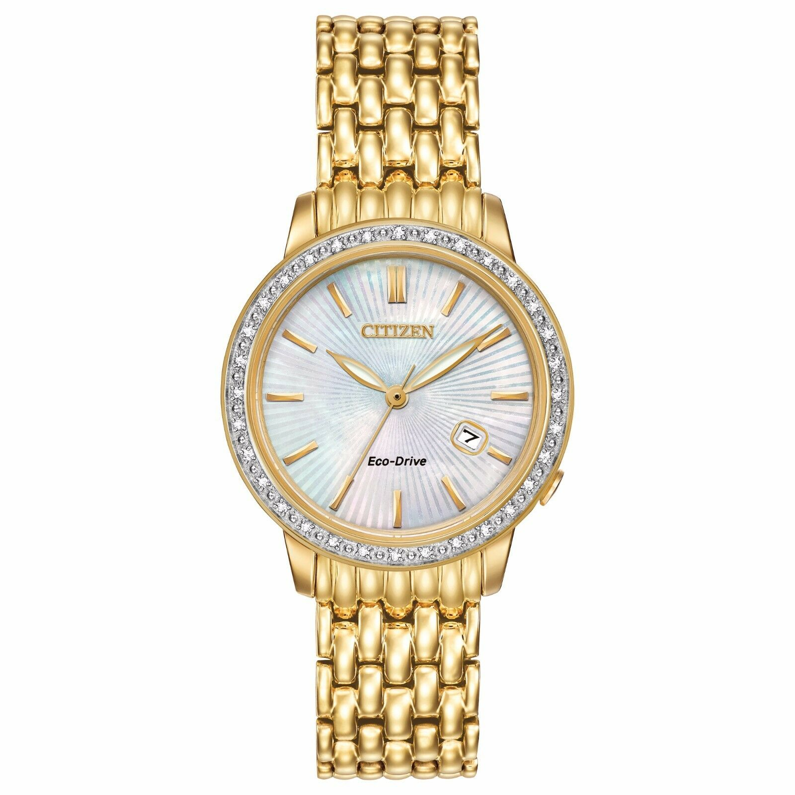 Citizen Eco-Drive Women's Diamond Accents Gold-Tone 29mm Wat