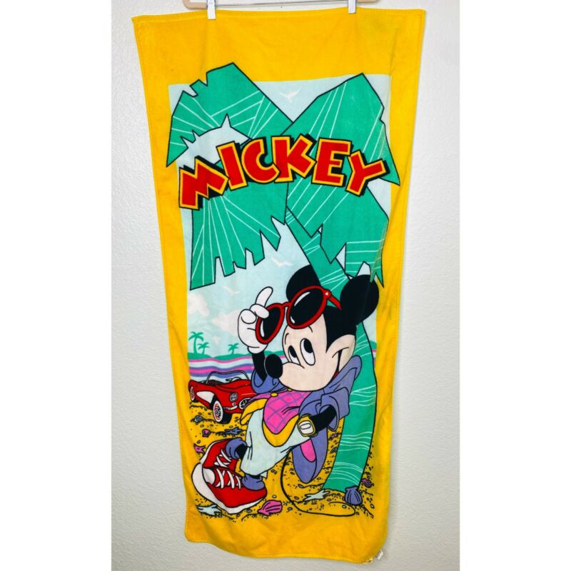 Vintage Mickey Mouse Beach Towel Franco Colorful Walt Disney Productions 57 x 27