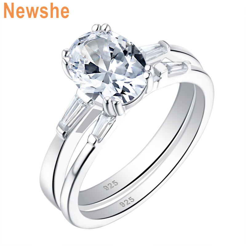 Newshe Wedding Engagement Ring Set For Women 3.5ct Oval Cz Sterling Silver 5-10