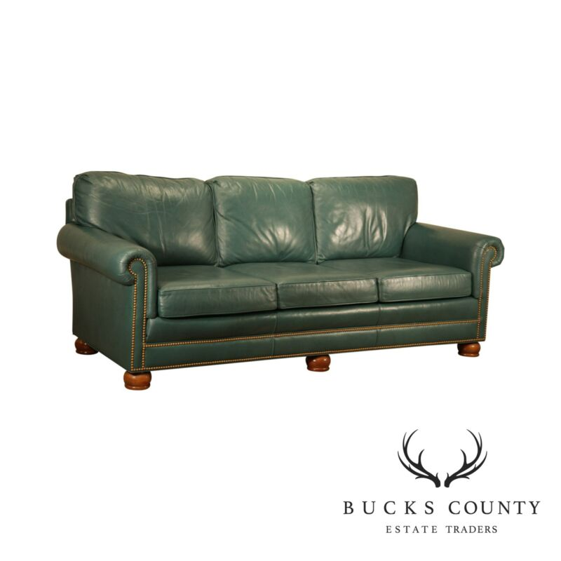 Whittemore - Sherrill Green Leather Sofa