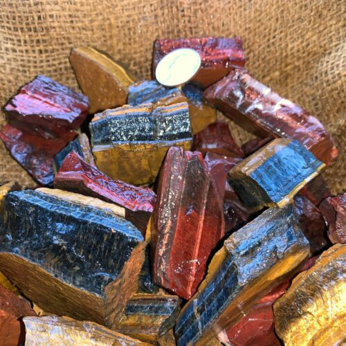 MIXED Tiger Eye Rough (RED, BLUE, GOLD)- 3000 Carat Lots+a FREE Faceted Gemstone