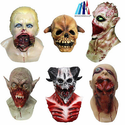 MASCARELLO Realistic Halloween Zombie Horror Latex Mask Monster Head Scary Dress