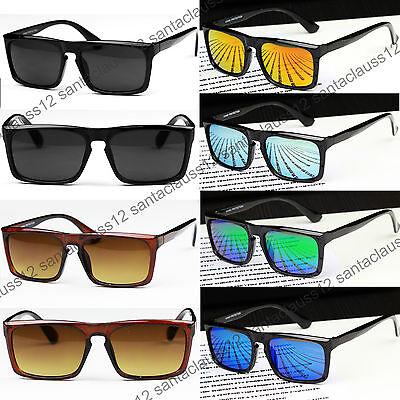 Square Sunglasses Flat Top Keyhole UV400 Mirrored Lenses Womens Mens